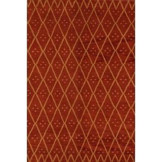 "Moroccan Traditional Hand Made Trellis Gabbeh Oriental Area Rug - 7'10"" x 4'11"""