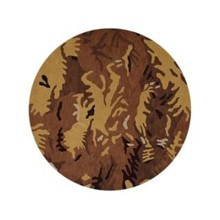 "Hand Tufted Oushak Agra Oriental Camouflage Area Rug - 10'0"" round"