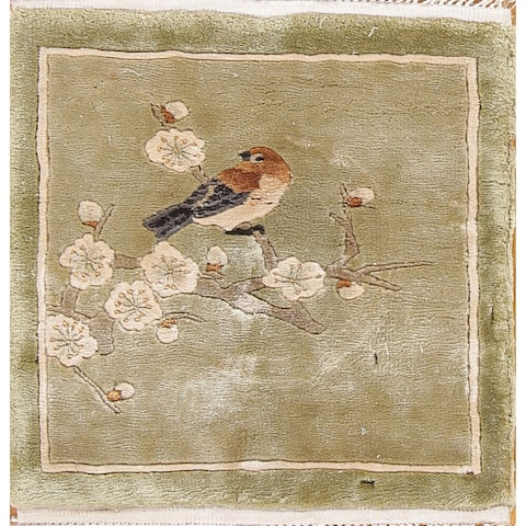 """Silk Art Deco Hand Knotted Chinese Traditional Oriental Floral Rug - 1'1"""" x 1' square"""