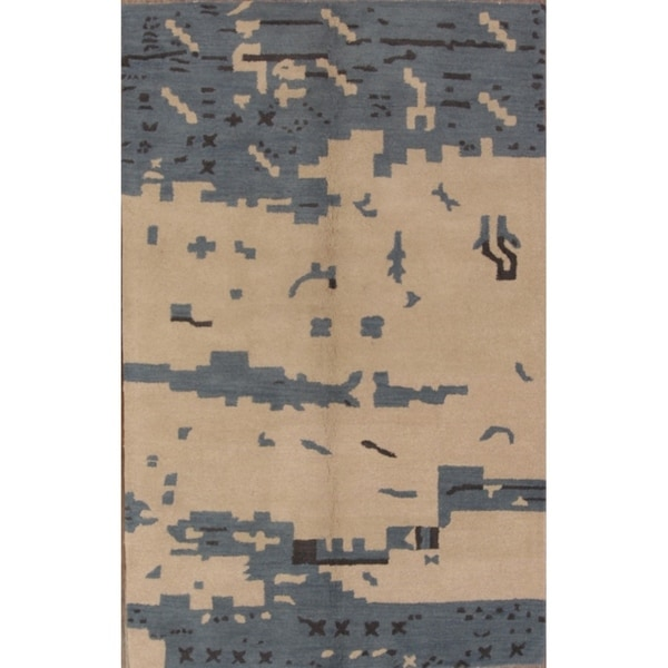 "Gabbeh Hand Tufted Wool Area Rug Indian Oriental Blue - 7'11"" x 5'0"