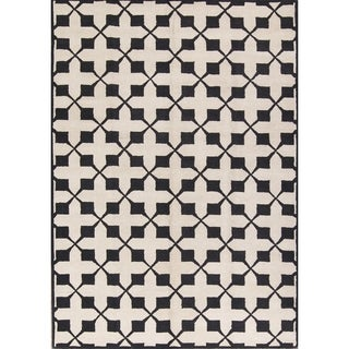 Black/White Modern Floral Hand Tufted Agra Oushak Oriental Area Rug - 11' x 8'