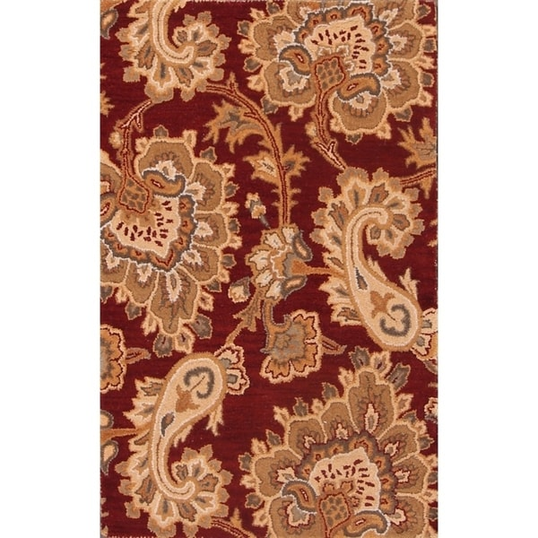 Shop Oushak Floral Tufted Wool Persian Oriental Area Rug: Shop Hand Tufted Floral Agra Indian Oriental Wool Area Rug