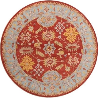 "Oushak Agra Handmade Wool Indian Oriental Floral Area Rug - 10'0"" round"