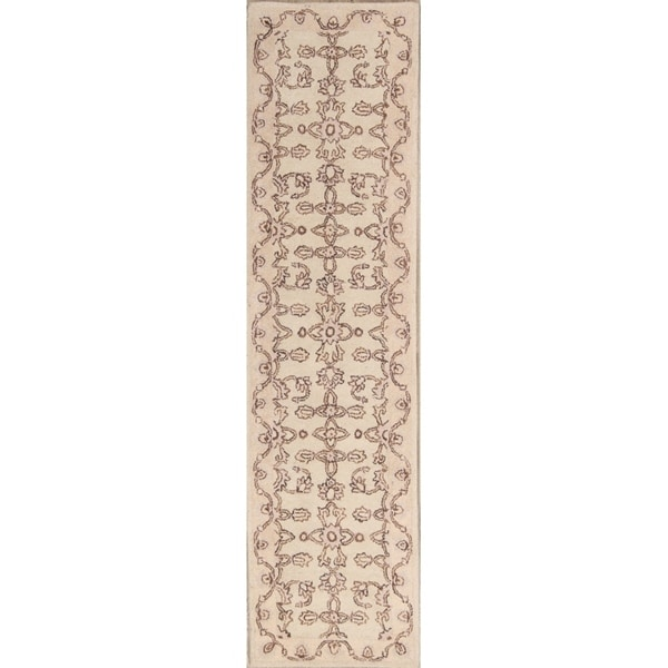 """Floral Oushak Agra Indian Oriental Hand Tufted Wool Rug - 10'0"""" x 2'8"""" runner"""