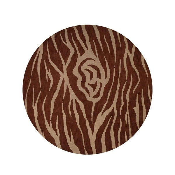 """Porch & Den Wile Rose Hand-tufted Animal Print Tribal Area Rug - 10'0"""" round"""