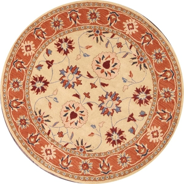 """Hand Tufted Wool Oushak Agra Floral Rug Yellow Carpet - 5'9"""" round"""