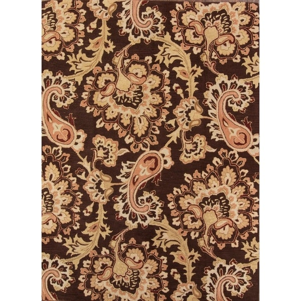 Shop Oushak Floral Tufted Wool Persian Oriental Area Rug: Shop Hand Tufted Oushak Agra Oriental Floral Area Rug Wool
