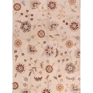 """Link to Hand Made Agra Oushak Traditional Oriental Floral Area Rug - 8'0"""" x 11'0"""" Similar Items in Rugs"""