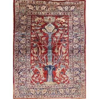 "Pre-1900 Antique Silk Heriz Oriental Hand Made Persian Area Rug - 6'11"" x 5'0"""