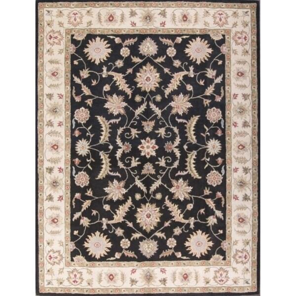 Copper Grove Oikos Black Floral Agra Tabriz Traditional Oriental Floral Area Rug - 10' x 13'