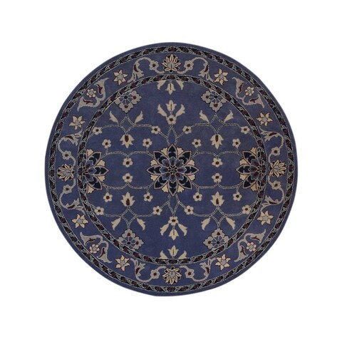 Copper Grove Svejbaek Light Blue Kashan Hand-tufted Oriental Floral Area Rug - 8' round