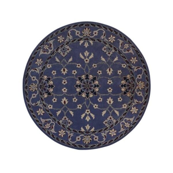 "Copper Grove Svejbaek Light Blue Kashan Hand-tufted Oriental Floral Area Rug - 8'0"" round"