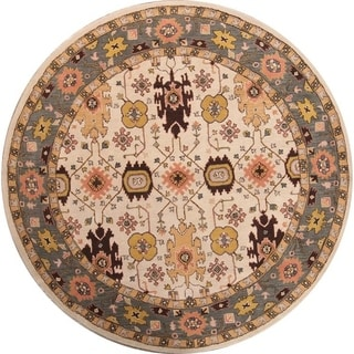 "Oushak Agra Hand Tufted Wool Indian Oriental Floral Area Rug - 10'0"" round"