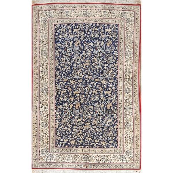 "Antique Nain Habibian Flora Hand Made Traditional Persian Area Rug - 8'2"" x 5'4"""
