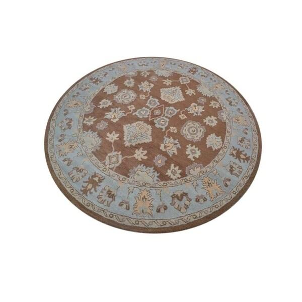 "Copper Grove Protaras Floral Oushak Agra Handmade Oriental Large Area Rug - 10'0"" round"