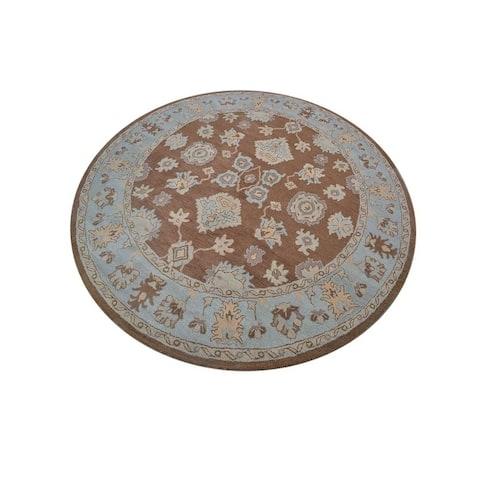 "Copper Grove Protaras Floral Oushak Agra Handmade Oriental Large Area Rug - 10'0"" round - 10'0"" round"