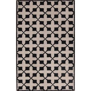 "Strick & Bolton Eisley Beige Hand-tufted Wool Area Rug - 8'1"" x 5'2"""