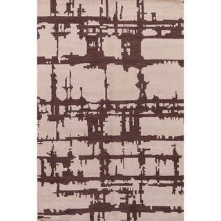 "Hand Knotted Wool Moroccan Traditional Geometric Oriental Area Rug - 5'3"" x 7'11"""