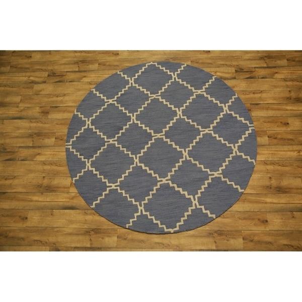 Porch & Den Audrey Hand-tufted Wool Moroccan Trellis Oriental Area Rug - 8' Round
