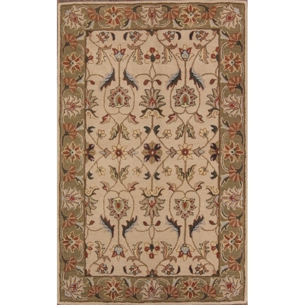 """Copper Grove Lagoudera All-over Floral Kashan Agra Hand Tufted Oriental Area Rug - 7'10"""" x 4'11"""""""