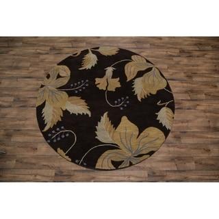 Porch & Den Ardell Brown Hand-made Wool Oushak Oriental Area Rug - 8' Round