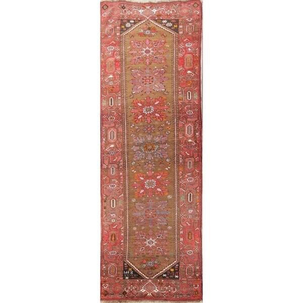 "Antique Heriz Oriental Hand Made Bakhshayesh Persian Area Rug - 12'1"" x 4'1"" runner"