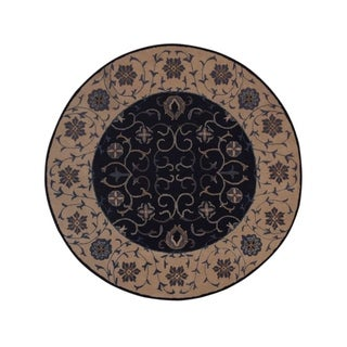 "Gracewood Hollow Ntaro Handmade Floral Blue Round Rug - 8'0"" round"