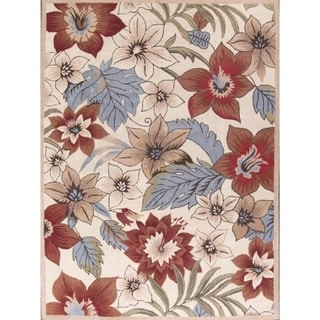 Porch & Den Waymire Hand-made Floral Transitional Oushak Area Rug - 10' x 13'