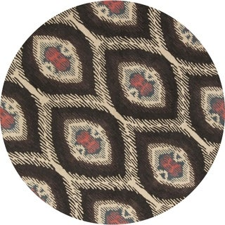 """Strick & Bolton Ginger Floral Handmade Wool Area Rug - 8'3"""" round"""