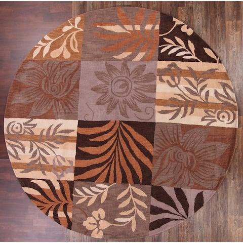 """Copper Grove Silkeborg Handmade Woolen Oushak Agra Oriental Floral Area Rug Wool Carpet - 10'0"""" round - 10'0"""" round"""