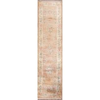 "Vintage Handmade Traditional Art Deco Peking Chinese Oriental Rug - 9'11"" x 2'6"" runner"