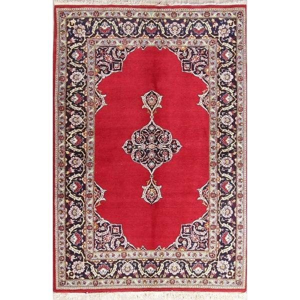"""Floral Hand Made Wool Kashan Persian Oriental Area Rug - 6'6"""" x 4'5"""""""