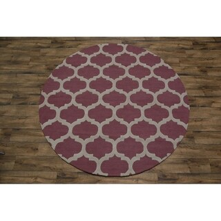 "Copper Grove Jelling Moroccan Trellis Handmade Wool Area Rug - 7'11"" x 7'10"" round"