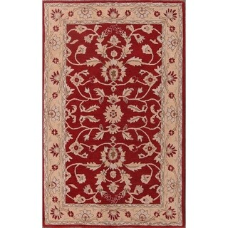 "Copper Grove Pachna Floral Handmade Agra Kashan Indian Oriental Area Rug Floral - 7'11"" x 5'0"
