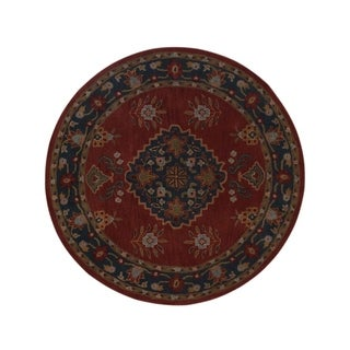"Copper Grove Pandrup Oushak Khotan Handmade Wool Oriental Floral Area Rug - 8'0"" round"