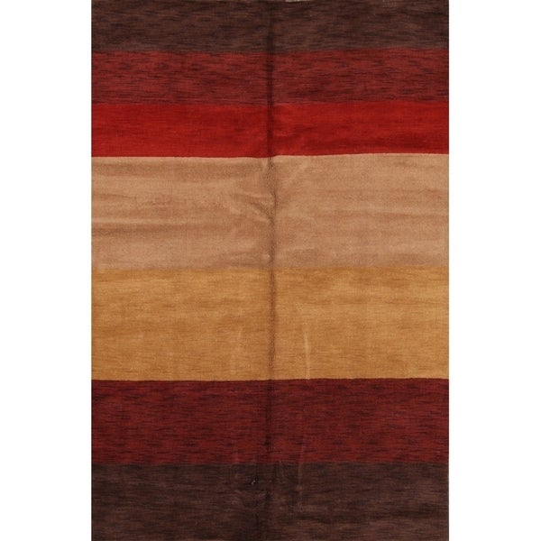 """Porch & Den Avocet Hand-knotted Striped Wool Gabbeh Area Rug - 7'0"""" x 10'0"""""""