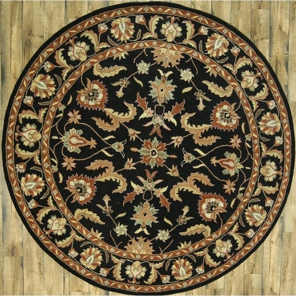 Fine Round Persian Bidjar Area Rug Hand Knotted Wool And: Shop Hand Tufted Wool Traditional Floral Black Oushak