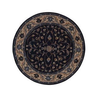 """Copper Grove Fjerritslev Oushak Hand-tufted Oriental Floral Wool Area Rug - 8'0"""" round"""