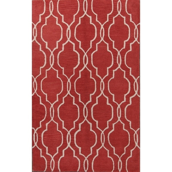 """Copper Grove Koge Hand-tufted Black/Red Moroccan Trellis Indian Oriental Area Rug - 8'0"""" x 5'0"""""""