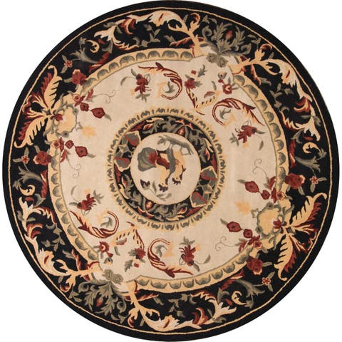 "Porch & Den Aynsley Hand-tufted Floral Wool Aubusson Oriental Area Rug - 9'10"" round"