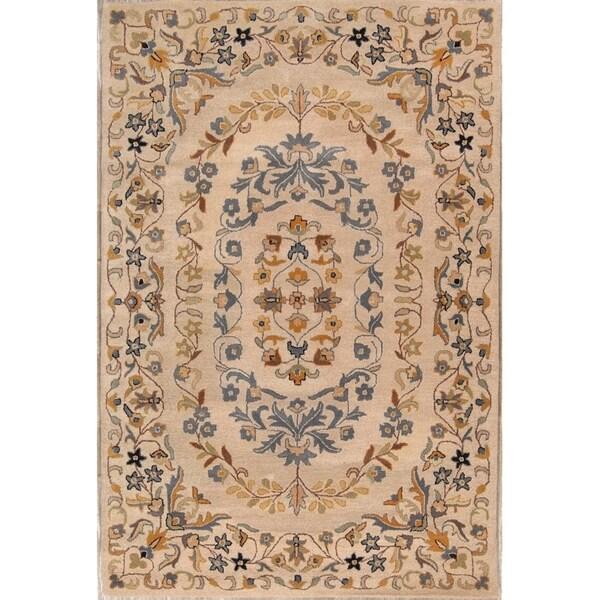 "Copper Grove Pegeia Classical Hand Tufted Wool Medallion Area Rug Eastern Beige - 7'9"" x 5'2"""