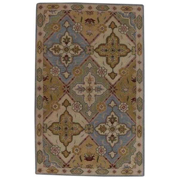 "Copper Grove Vretsia Geometric Tabriz Wool Agra Hand Tufted Oriental Area Rug - 9'8"" x 6'9"""