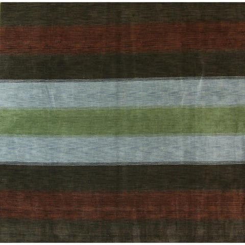 "Porch & Den Sunnyslope Hand-made Striped Gabbeh Area Rug - 9'9"" x 9'7"" square"