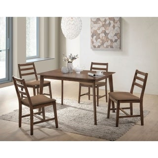 Wooden Dining Set with Slatted Back Chairs, Pack of Five, Brown