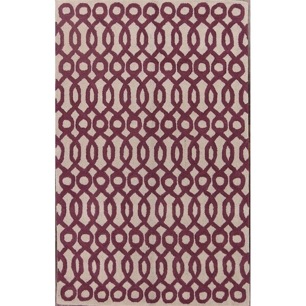 Oushak Hand Tufted Woolen Indian Oriental Floral Area Rug - 8' x 5'