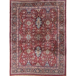 "Vintage Kerman Hand Made Traditional Persian Floral Area Rug - 13'1"" x 9'10"""