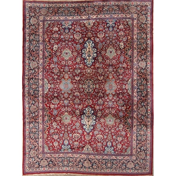 """Vintage Kerman Hand Made Traditional Persian Floral Area Rug - 13'1"""" x 9'10"""""""