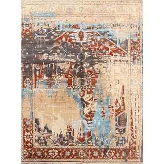 "Heriz Indian Design Oriental Wool and Silk Area Rug Handmade - 12' x 9'1"""