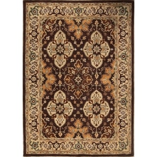 "Gracewood Hollow Kabumba Handmade Brown Floral Wool Area Rug - 9'8"" x 6'9"""