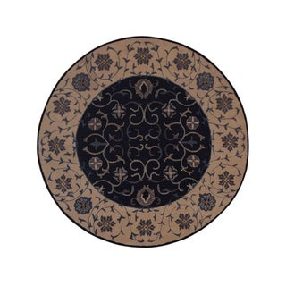 "Copper Grove Losning Hand-tufted Woolen Oriental Floral Area Rug Blue - 5'9"" round"